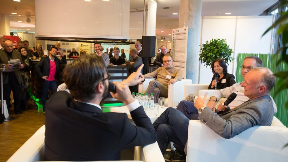 HAZ-Talkrunde auf der Wirtschaftsmesse Hannover 2014 zu Social Media mit Frank Buschmann